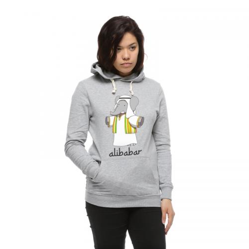 Hoodie gris femme Alibabar